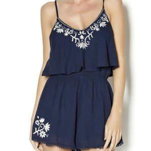 Lush Navy Embroidered Tank Romper